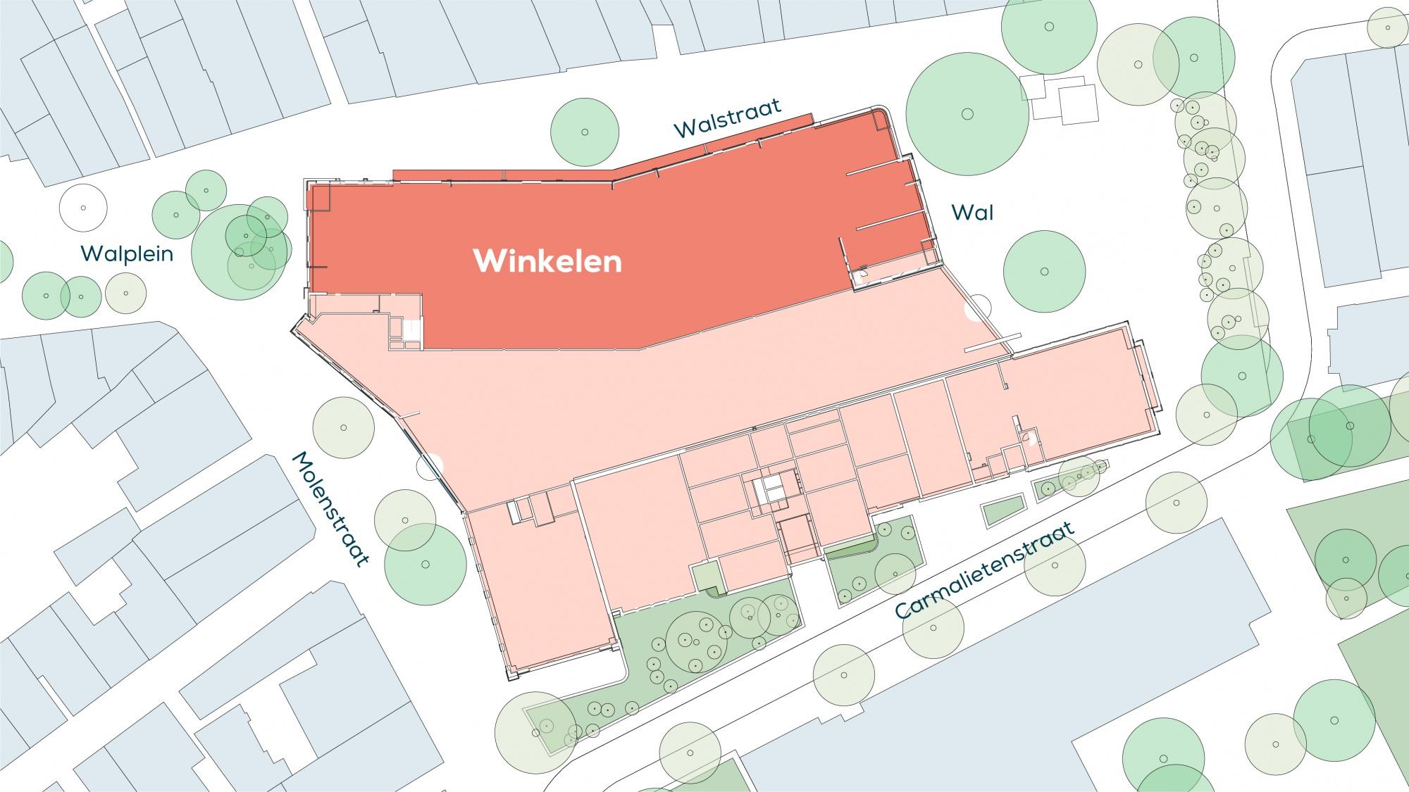 Hier is een plattegrond afgebeeld waarop aangegeven wordt waar de retail zich uiteindelijk in het pand zal bevinden.