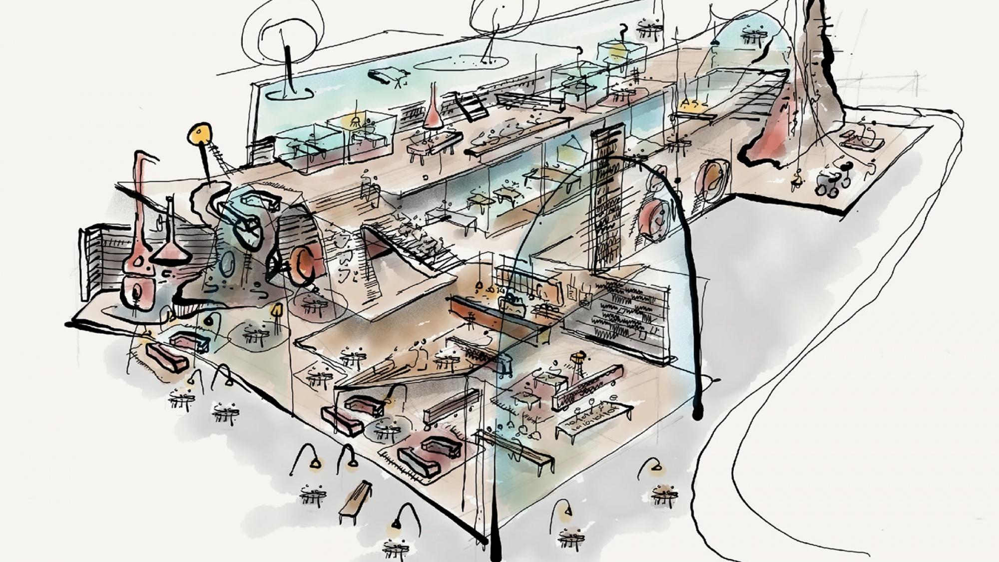 Ontwerp van de binnenkant van het Warenhuis door Aat Vos