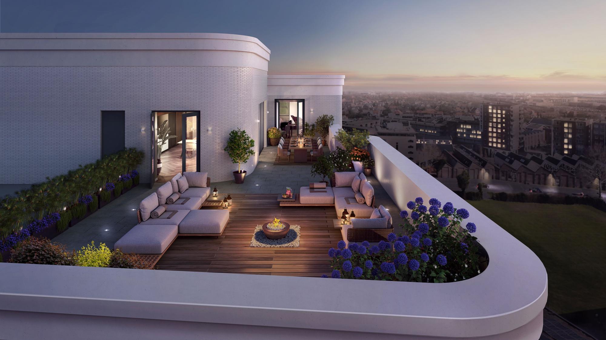 Voorbeeld terras van het penthouse in de woontoren van het Walkwartier