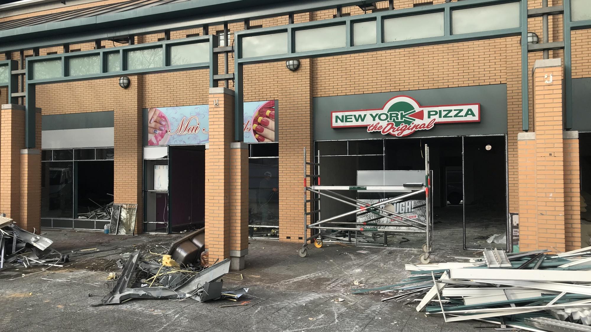 Een hoop puin voor de New York pizza