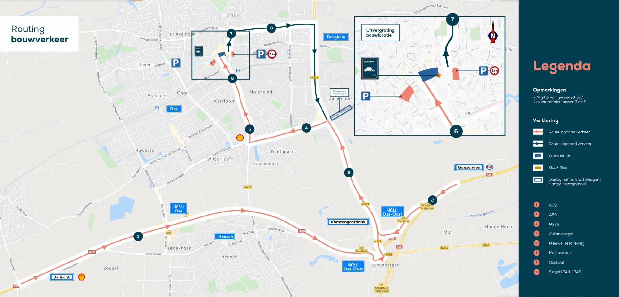Een aparte route voor het bouwverkeer wat naar het Walkwartier moet.